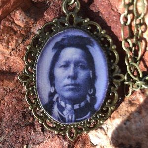 Antique Brass Native American Pendant Necklace